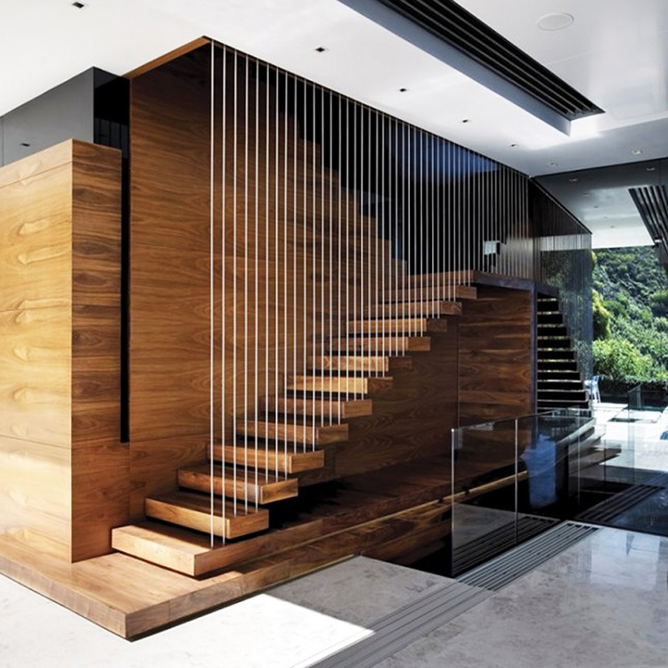 China Interior Glass Railing Wood Stair Kit Cantilever | Wooden Stairs Railing Design With Glass