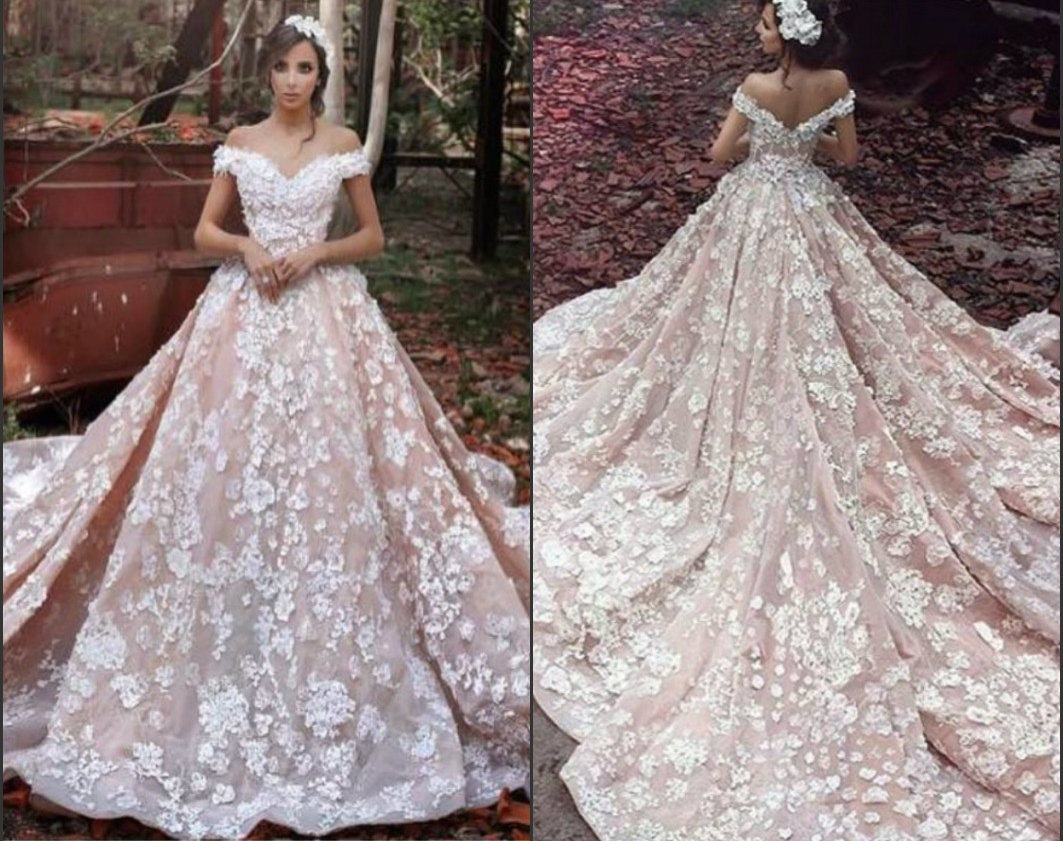 China Cap Sleeves Bridal Gowns Luxury Flowers Pink Arabic