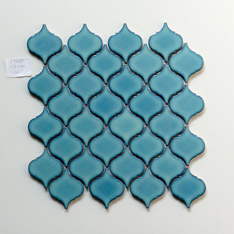 hot item 268x260mm glossy blue arabesque lantern pattern ceramic backsplash tile