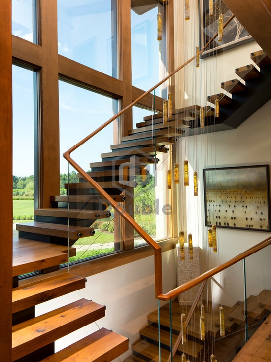 China Modern Stairs Wooden Handrail Glass Railing Wood Staircase | Modern Wood Staircase Railing | Interior | Stylish | Wall Mounted | Contemporary | House