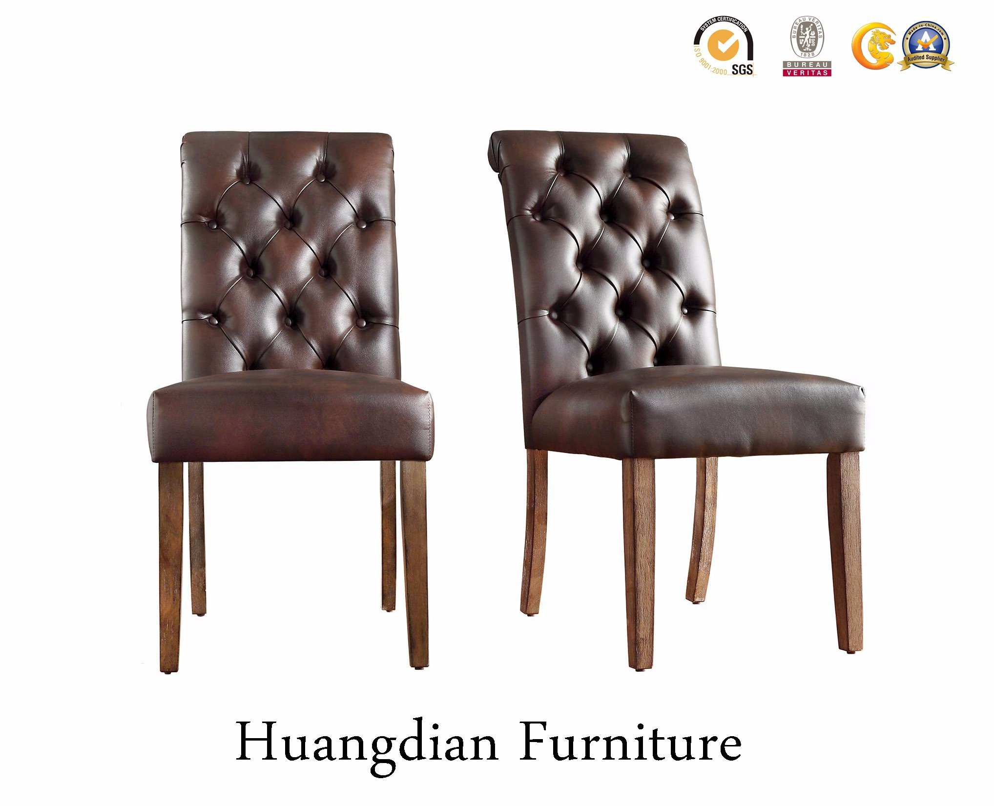 China Brown Leather Tufted Dining Chairs Restaurant Chairs