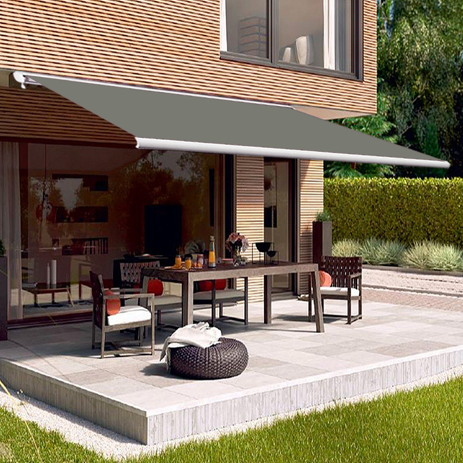 hot item outdoor automatic full cassette semi cassette retractable awning for patio door terrace or deck