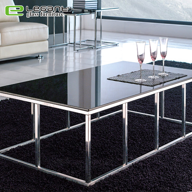 China Reinforced Stainless Steel Legs Square Glass Top Coffee Table China Glass Coffee Table Glass Tea Table