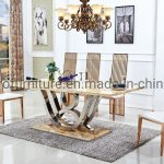 China Furniture Factory Luxury Marble Top Dining Table Hot Sell D19 China Dining Table Glass Table