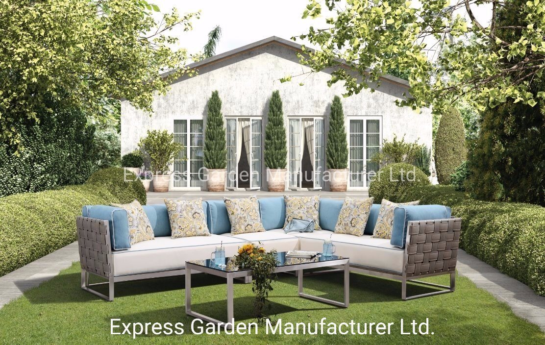 hot item waterproof textilene and stainless steel chair and table outdoor corner sofa set patio aluminum hotel home garden modern set outdoor