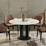 China Luxury Italian 1 3m Marble Top Round Dining Table Set 4 Chairs Metal Feet China Home Furniture Dining Room Furniture