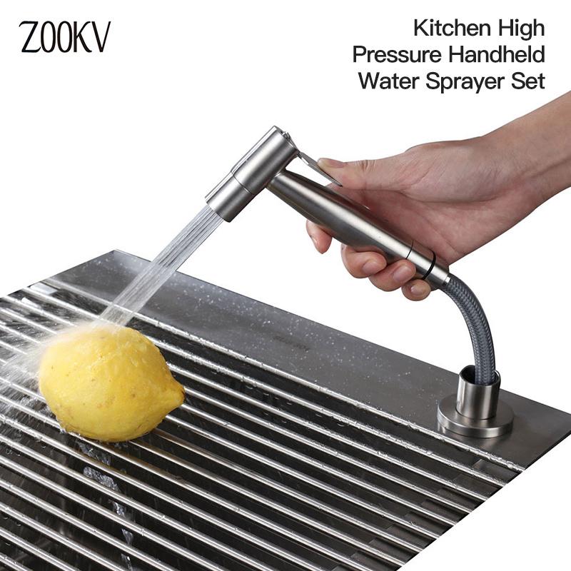 hot item kitchen faucet sprayer stainless steel kitchen sink side sprayer set pull out spray head with side sprayer hose and sprayer holder black