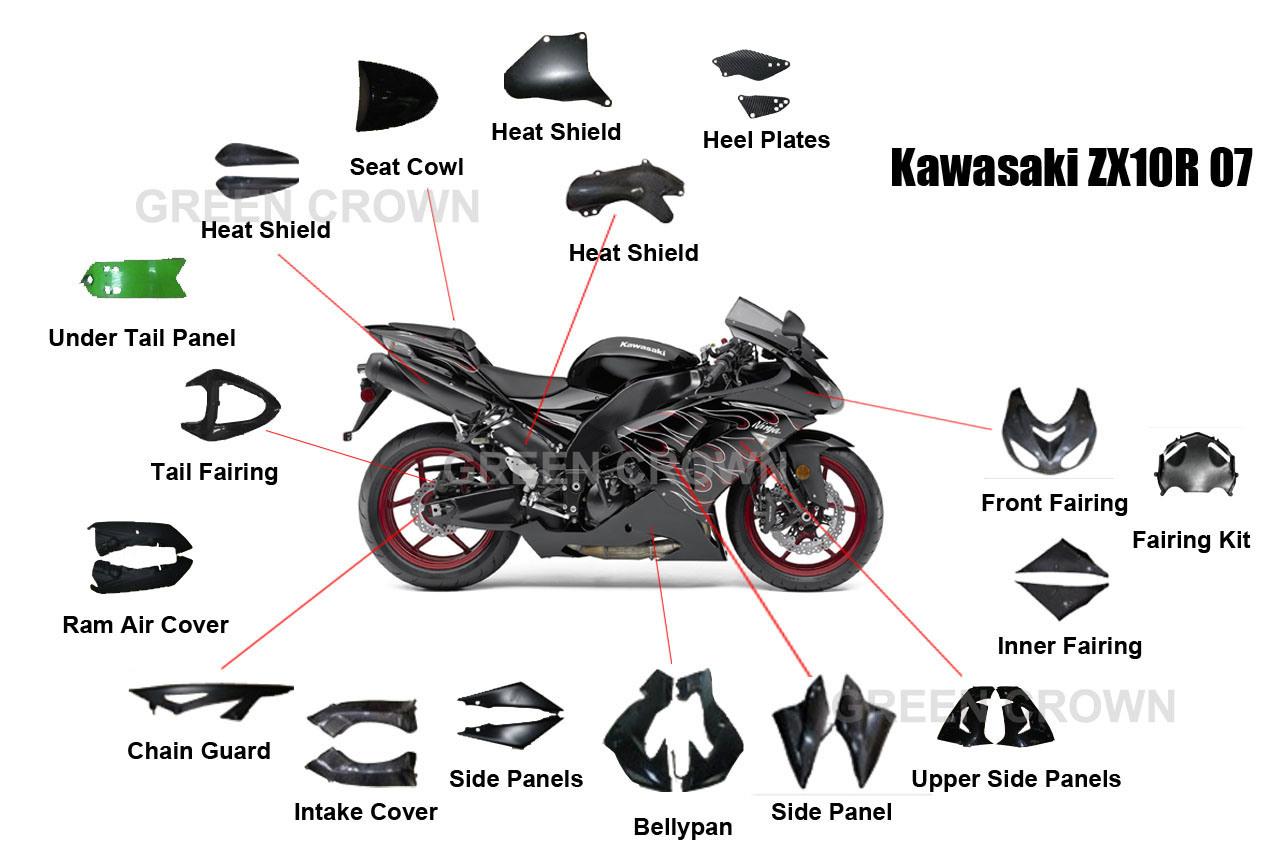 China Carbon Motorcycle Parts For Kawasaki Zx10r 07