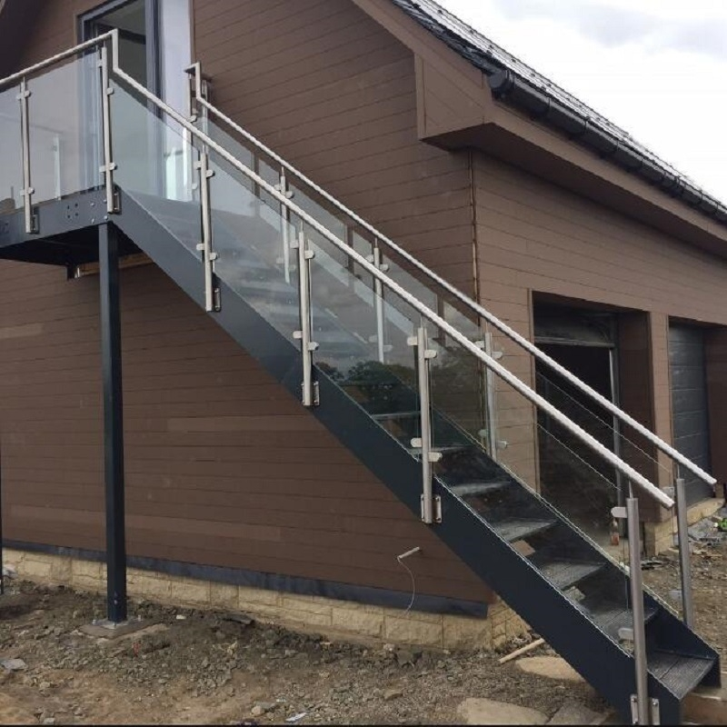 China Outdoor Glass Railing Ss Handrail Steel Grating Stair Tread | Modern Stairs Design Outdoor | Indoor | Prefab Metal Residential Exterior | Terrace | Metal | Railing
