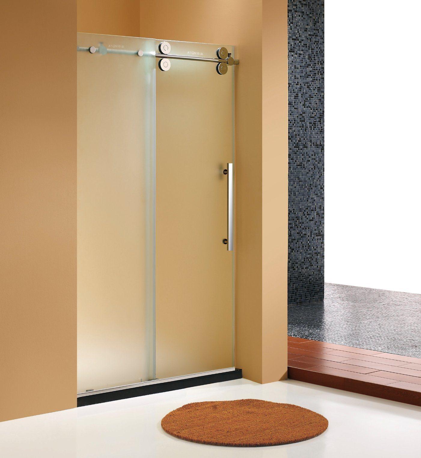 Hot Item Elegant Deisgn Big Roller Frosted Glass Sliding Shower Door Shower Screen