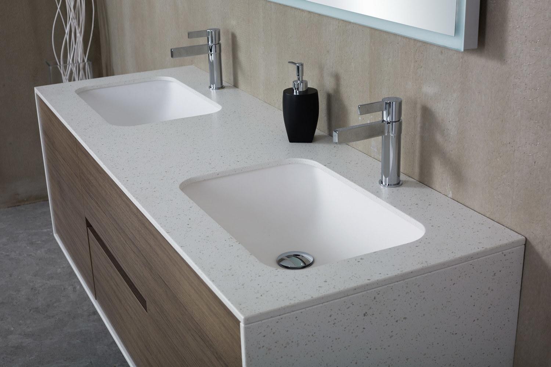 hot item fdm900 500 450mm customized cabinet bathroom wash basin white artificial stone sink