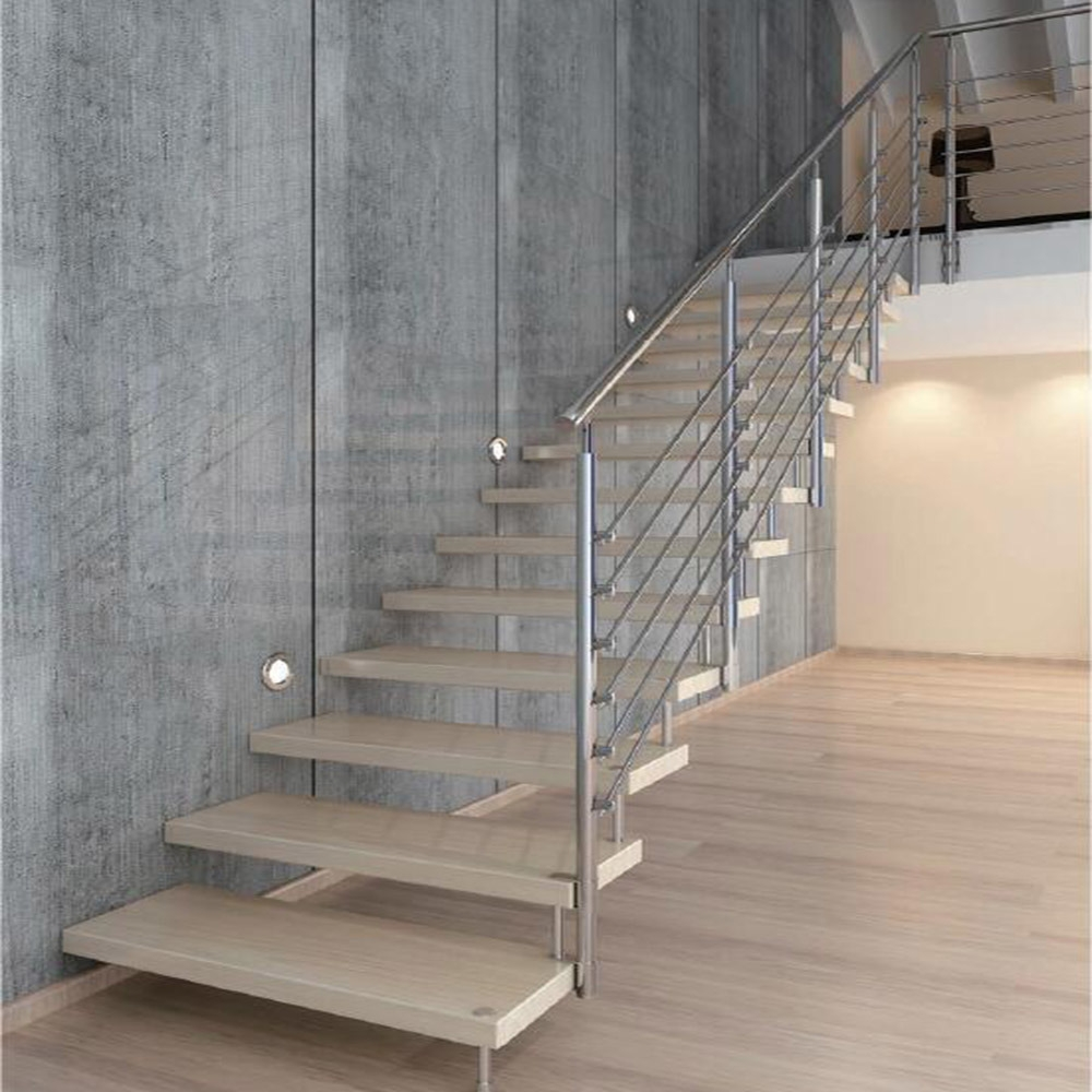 China Anti Slip Solid Wood Steps Straight Staircase Design With | Steel Handrails For Steps | Baluster | Aluminum | Steel Tube | Price | Designing