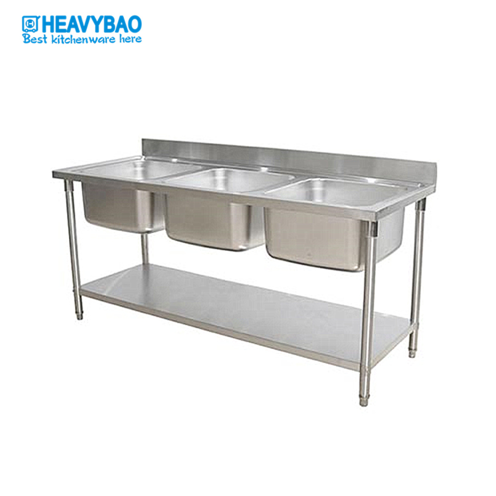 hot item heavybao 180cm length commercial hot selling triple bowl kitchen sink table working table with sink sink table with under shelf