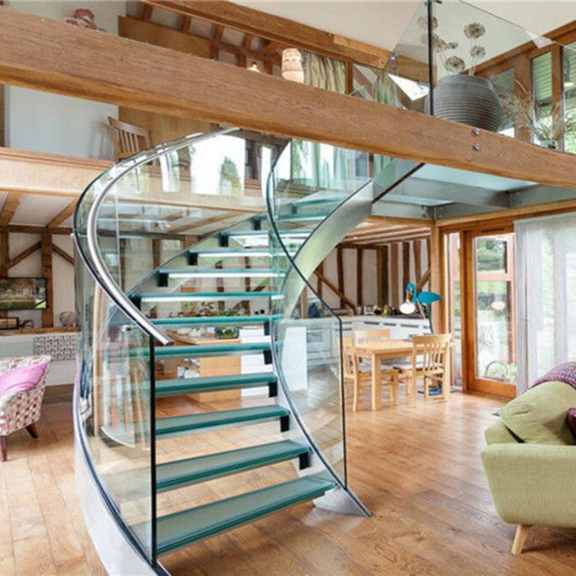 Best Price Curved Glass Staircases With Bent Glass Railing Glass | Glass Railing For Stairs Price | Curved Glass Balustrade | China | Spiral Staircase | Frameless Glass | Cable Railing