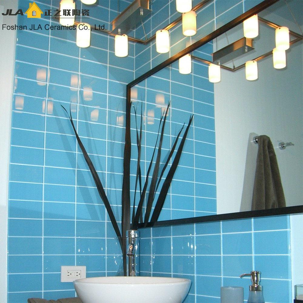 hot item 3x6inch 7 5x15cm shy blue glazed ceramic subway tile wall decoration