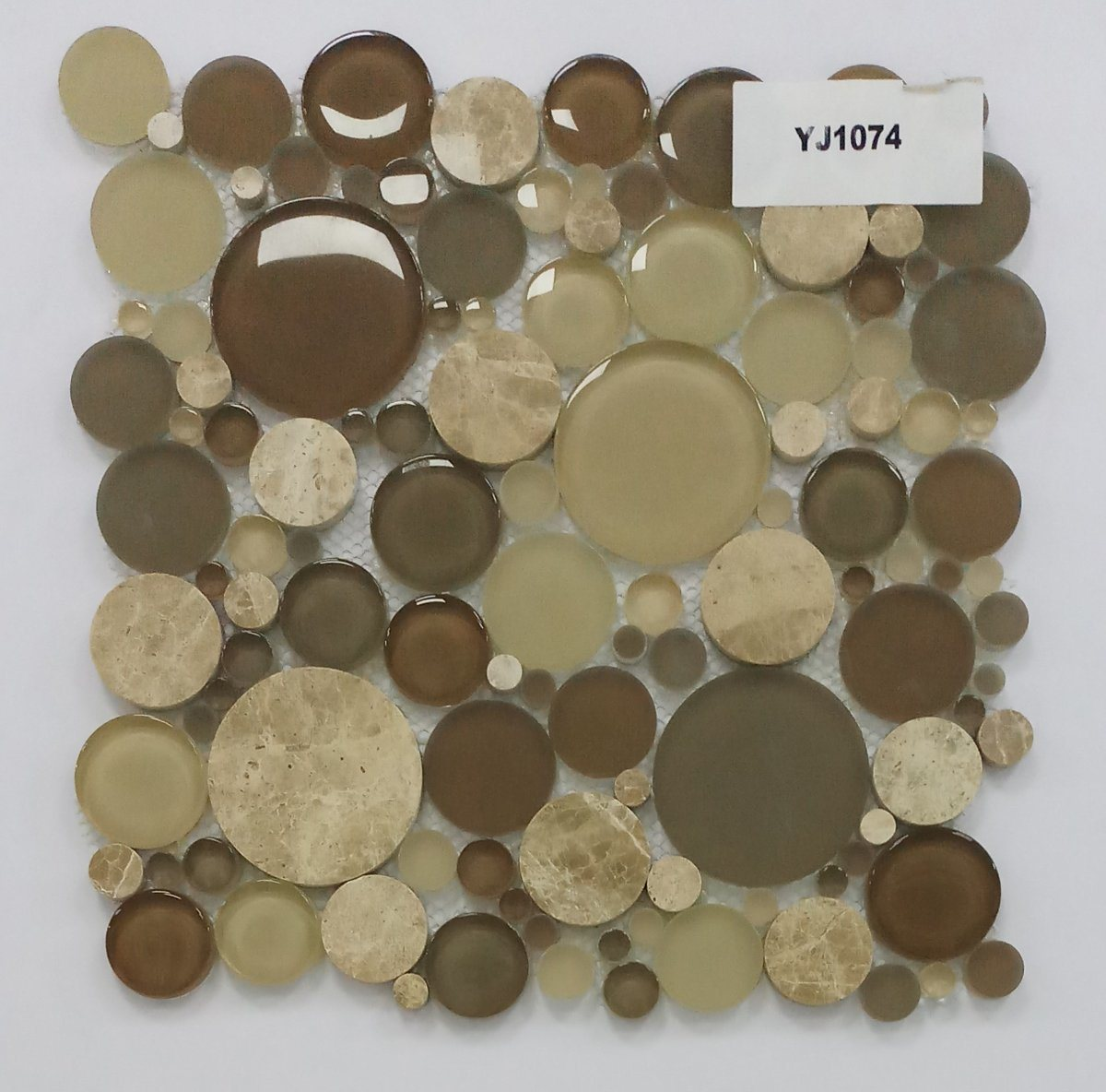 hot item new pattern brown round glass mix stone mosaic perfect for kitchen backsplash and bathroom tile