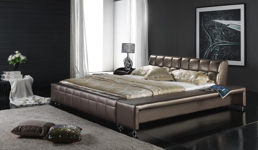 Meubles Modernes De Chambre Coucher Lit En Cuir 6015