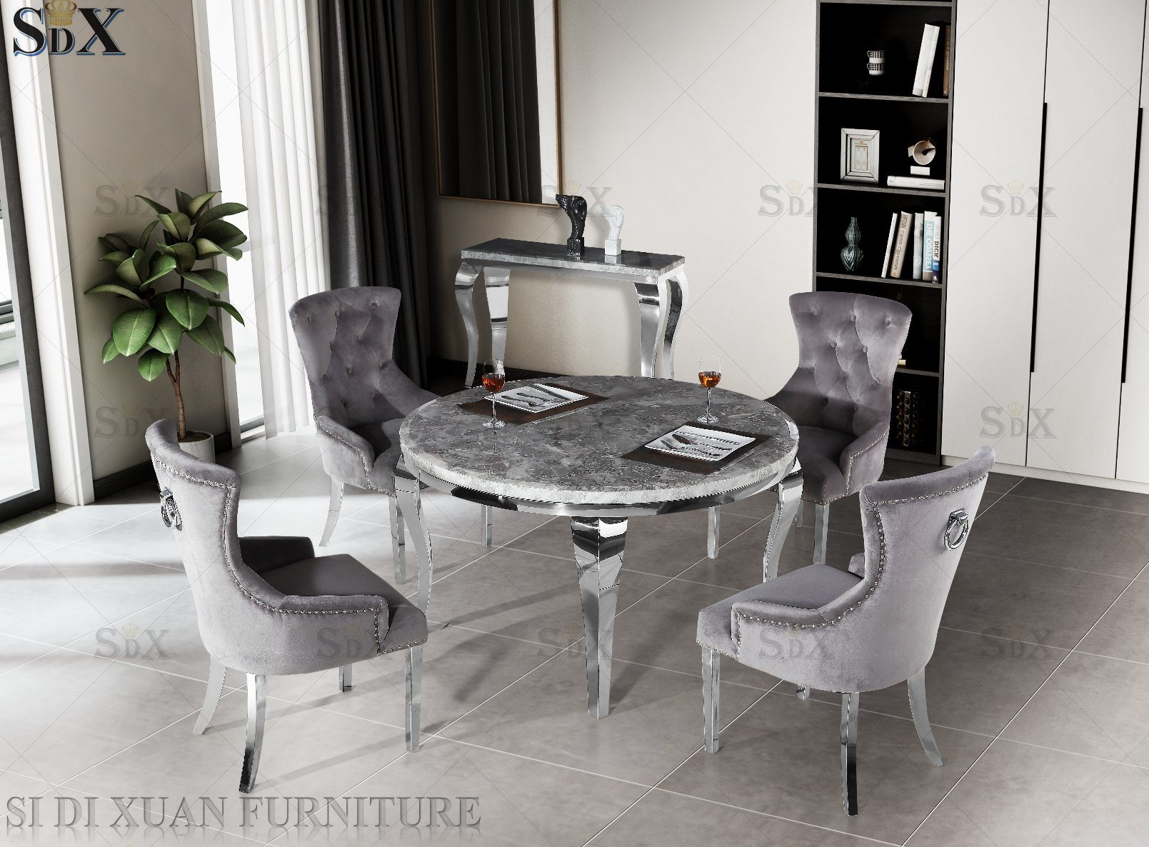 chine table ronde louis jambe salle a