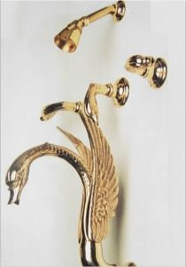 gold pvd finish swan bathtub shower faucet with shower head complete 3 handle tub deluxe shower set