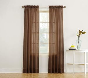 brown crinkle sheer curtain panels window treatment rod pocket and back tab crushed voile for patio villa parlor sliding door 63 84 95 inch sheer