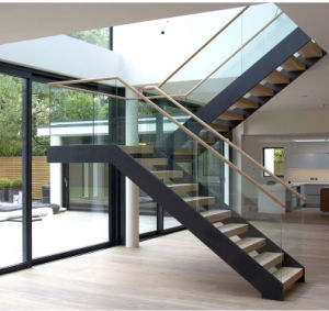 Made In China Modern Design Glass Balustrade Steel Wood Staircase | Iron And Wood Staircase | Internal | Farmhouse | Free Standing Wood | Modern | Design