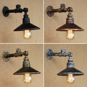 4 color industrial loft iron rust water pipe retro wall lamp vintage e27 sconce lights with switch for bedroom restaurant bar