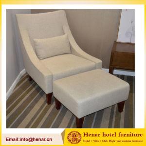 tissu ottoman de loisirs moderne en bois chaise chaise de salon avec marche pied