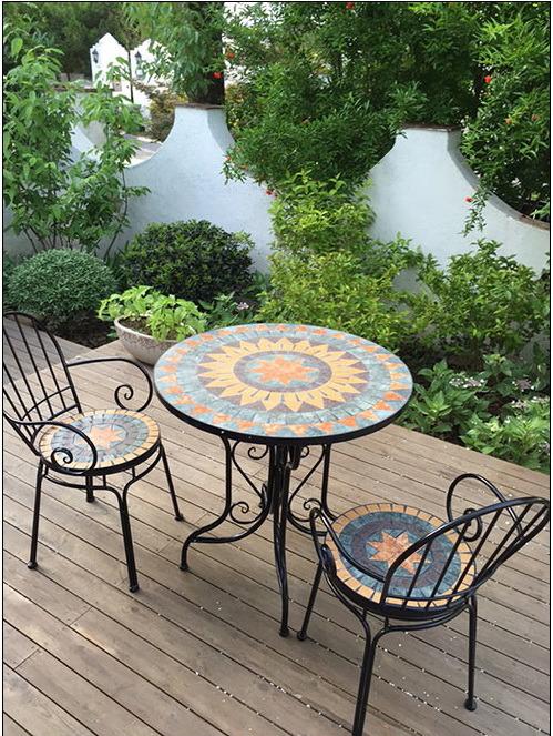 rural style mosaic patio furniture