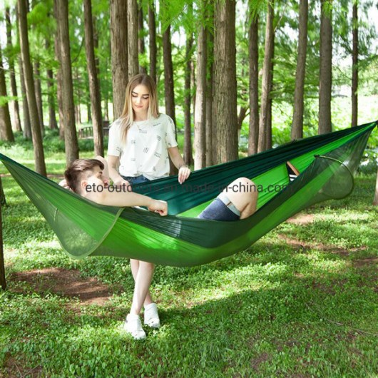Beach Hammock Double Person Parachute Hammock with Mosquito Net Camping Bed