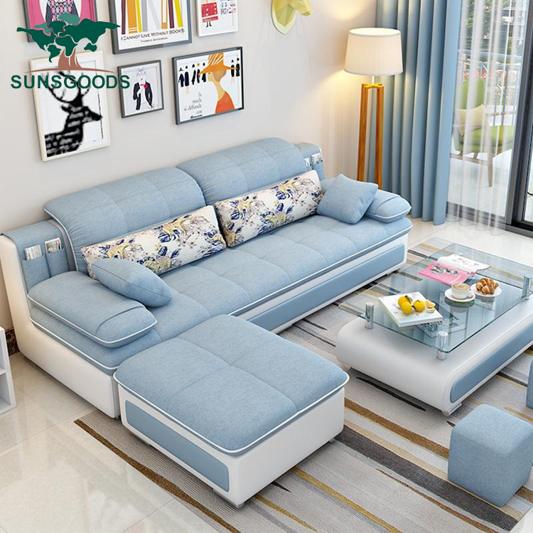 Blue Fabric Living Room Low Price Arabic Sofa Set China Best Price Furniture Set Moroccan Sofa Made In China Com