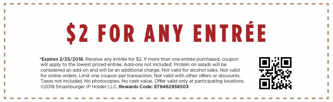 picture regarding Smashburger Printable Coupon named Ranking ANY Entree at Smashburger For Exactly $2 - Hip2Preserve