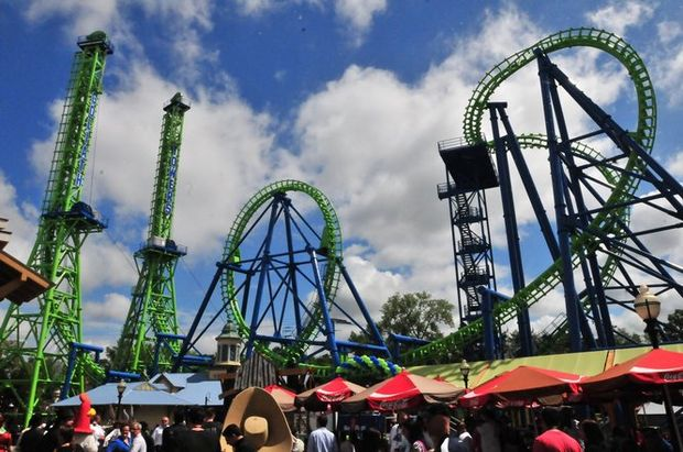 Riding Goliath Roller Coaster At Six Flags New England