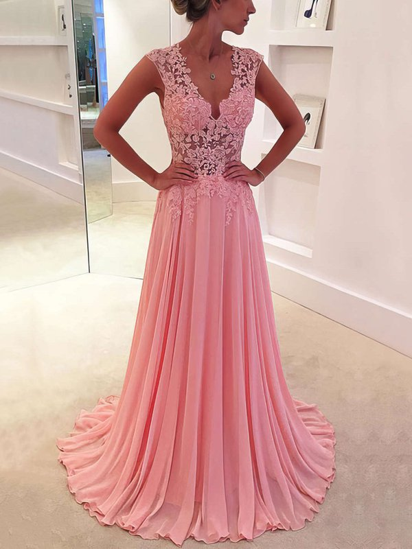 Elegant A Line Pink Inexpensive Long Prom Dress