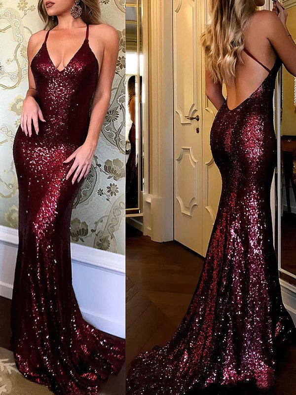 Sparkle & Shine Mermaid Burgundy Beautiful Long Dresses for Prom