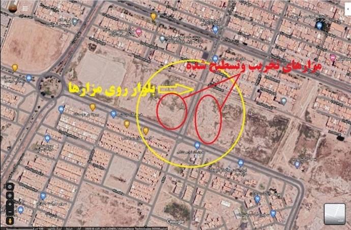-اهواز- عکس هوایی منطقه پاداشهر- محل تخریب گورهای دستهجمعی شهدای مجاهد خلق