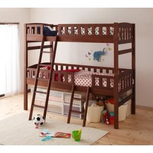 2段ベッド ブラウン 収納ができる天然木分割式2段ベッド【Pacio】パシオ