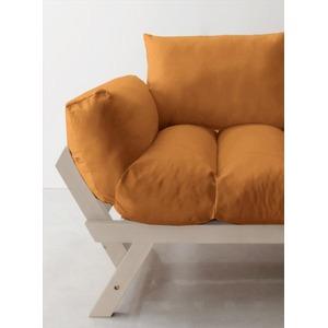 ソファー 2.5人掛け 座面カラー:オレンジ フレームカラー:ホワイト 北欧デザイン天然木フレームソファ Lapua ラプア
