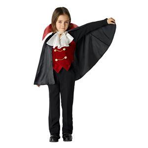 子供用 コスプレ衣装 【ヴァンパイアボーイ 120cmサイズ】 ジャボ ベスト マント付き ボタン仕様 ポリエステル 〔ハロウィン〕