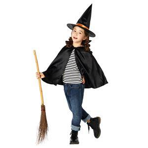 子供用 コスプレ衣装 【ハロウィン魔女セット】 帽子 マント付き ボタン仕様 ポリエステル 〔ハロウィン〕