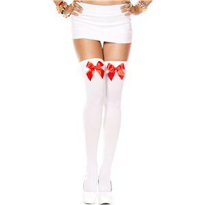 コスプレ衣装/コスチューム Music Legs 4742White/Red ニーハイソックス