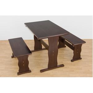 木目調ダイニングテーブル&ベンチチェア2脚セット 【ダークブラウン】 木製/パイン材 〔テーブル:幅90cm/ベンチ:幅74cm〕