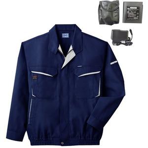 空調服 綿・ポリ混紡長袖作業着 K-500N 【カラー:ネイビー サイズ L】 リチウムバッテリーセット
