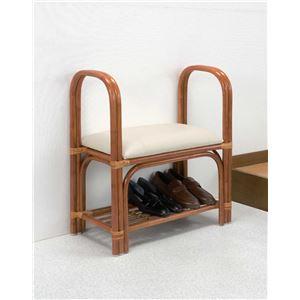 らくらく立ち上がり玄関ベンチ 木製(天然籐)/合成皮革 (手すり/座椅子/靴収納棚) 【完成品】