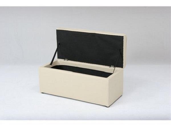 トランクベンチ/収納BOX付きスツール 木製/合成皮革 高さ38cm BT-093A アイボリー