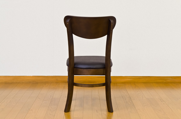 ダイニングチェア/リビングチェア 【2脚セット】 座面高43cm 張地:合成皮革/合皮 木脚 AMANDA ダークブラウン