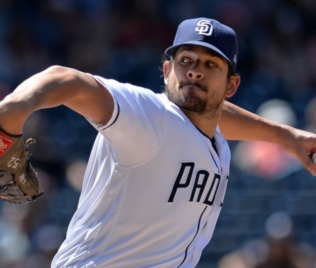 San Diego Padres Relief Pitcher Brad Hand  Pitches In The Ninth Inning Against