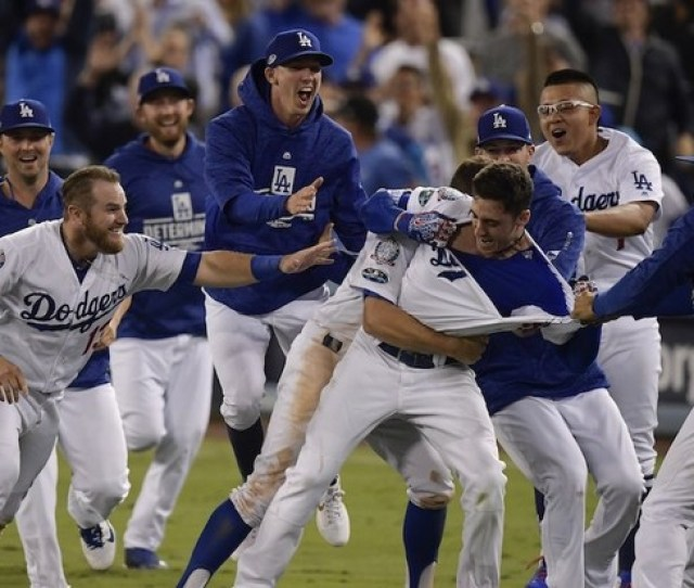 Los Angeles Dodgers Cody Bellinger Celebrates After Hitting A Walk Off Hit During The