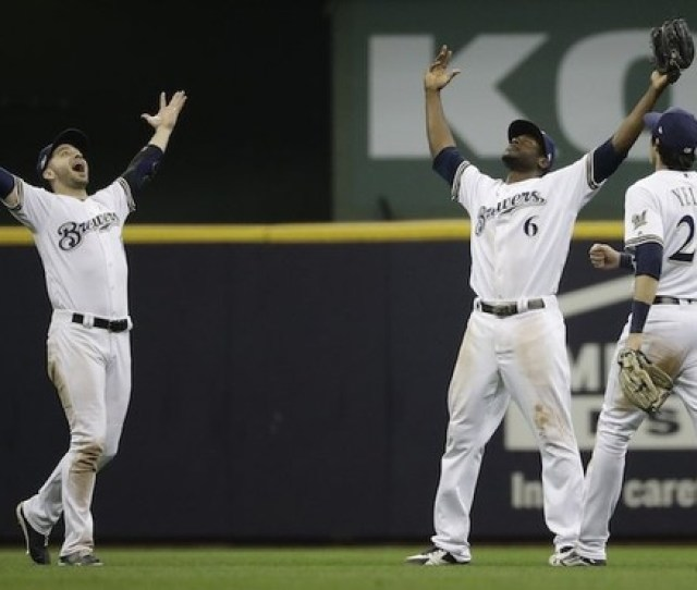 Milwaukee Brewers Ryan Braun Christian Yelich And Lorenzo Cain Celebrate After Game  Of