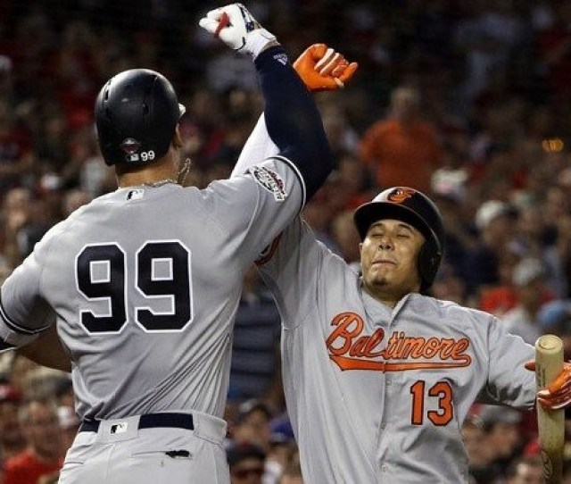 Aaron Judge  Of The New York Yankees And The American League Celebrates With Manny