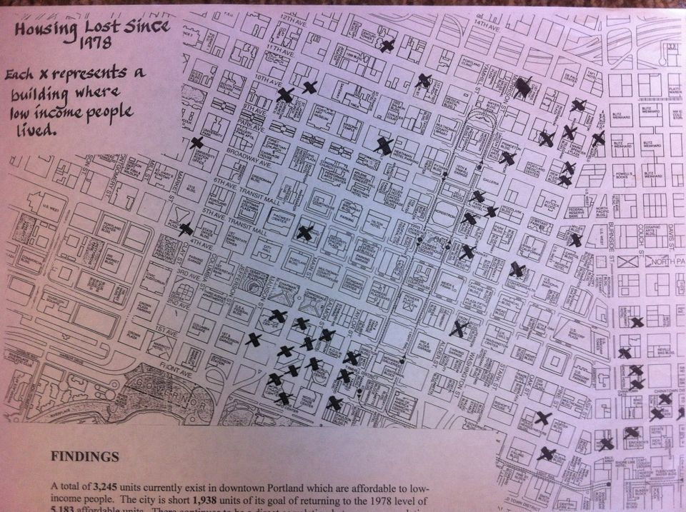 A map compiled by Northwest Pilot Project tracking affordable units lost downtown since 1979. Brad Schmidt | The Oregonian/OregonLive